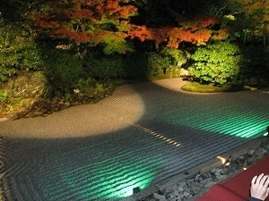 Zen gardens at night in Kyoto